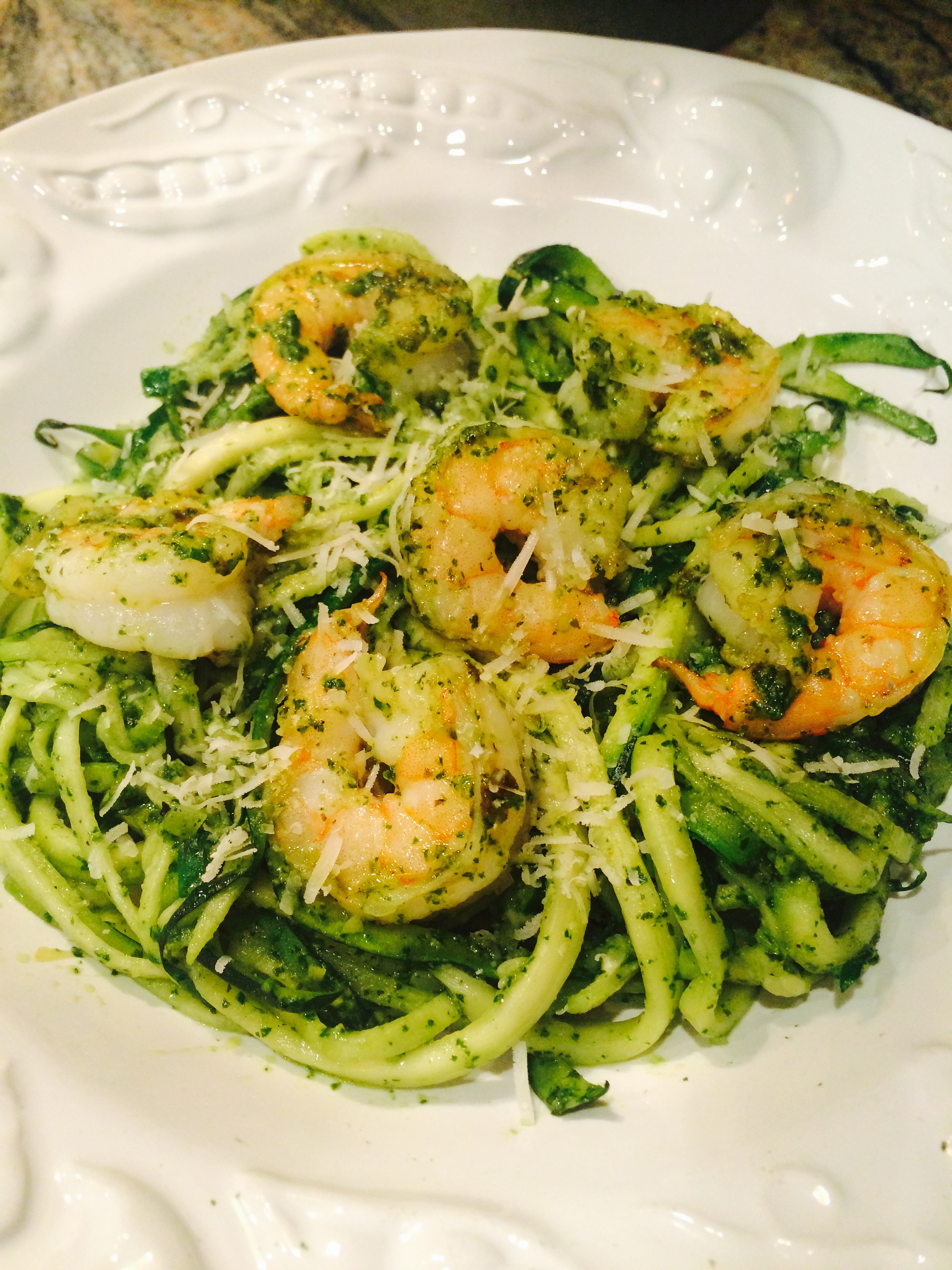 Zoodles & Shrimp with Lemon Pesto serves 4
